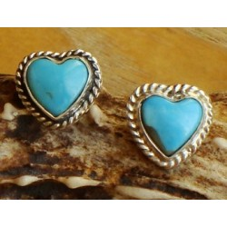 Boucles d'oreilles en argent et turquoises
