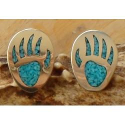 Clous d'oreilles en argent et turquoises