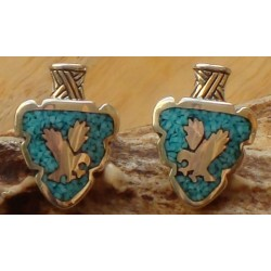 Flèches en argent et turquoises