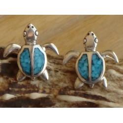 Boucles d'oreilles tortues en argent et turquoise