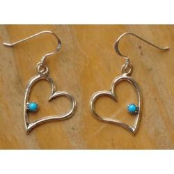 Boucles d'oreilles navajo en argent et turquoise