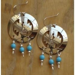 Boucles d'oreilles navajo Kokopelli en argent et  turquoises.