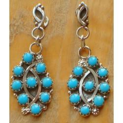 Boucles d'oreilles Zuni.  Argent et turquoises