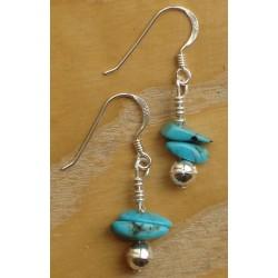 Boucles d'oreilles Navajo.  Argent et turquoises