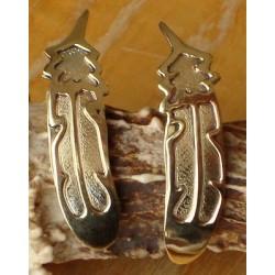 Boucles d'oreilles navajo. Plumes en argent et plaqué or 12k.