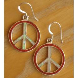 Boucles d'oreilles Peace & Love en argent.
