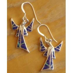Boucles d'oreilles ange en Lapis-lazuli et argent.