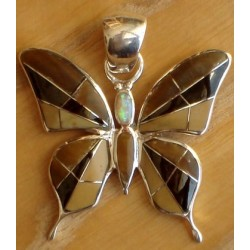 Pendentif papillon en argent, onyx, oeil de tigre et opale de synthère