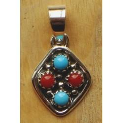 Petit pendentif navajo en argent, turquoises et corail.
