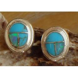 Clous d'oreilles en argent, turquoise et opale.