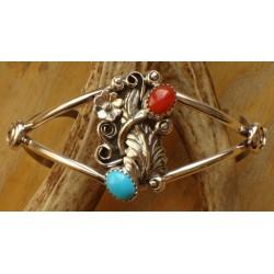 Bracelet navajo en argent, turquoise et corail.