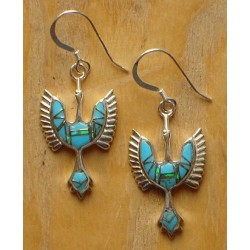 Boucles d'oreilles oiseau-Tonnerre en argent et turquoise