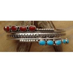 Bracelet navajo en argent, turquoises et corail.