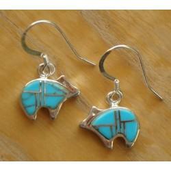 Boucles d'oreilles ours en argent et turquoises