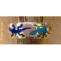 Anneau indien en argent avec geckos en turquoise et lapis.