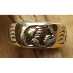 Bague / chevalière en argent et turquoise avec grizzli