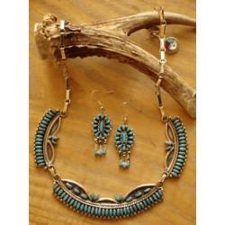 Parure zuni en argent et turquoises