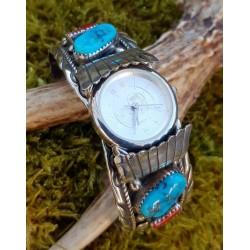 Bracelet de montre amérindienne navajo en argent et corail.