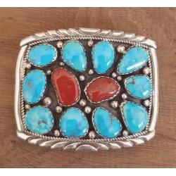 Boucle de ceinture indienne navajo en argent, turquoise et corail.