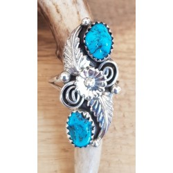Bague amérindienne navajo en argent et turquoises