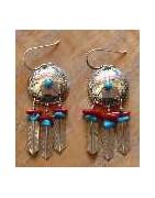 boucles d'oreilles en argent, turquoise, corail